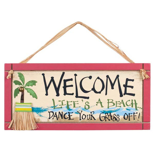 Welcome Hula Dance Beach Two Sided Sign 35072