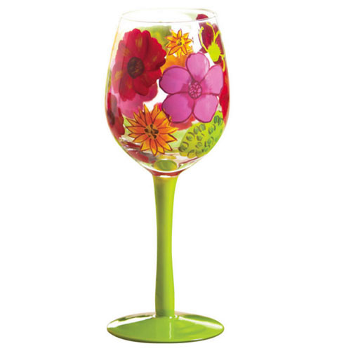 Floral Tropical Splash Stemware Glass 3CWG3371-G