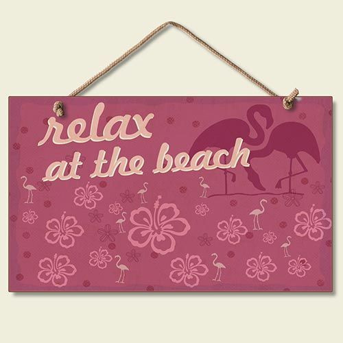 "Pink Flamingo Sign ""Relax at the Beach"" - 41-048"