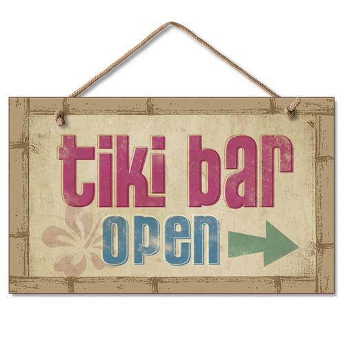 Tiki Bar Open Wood Sign 41-805