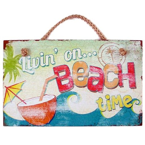 "Beach Wood Sign ""Livin' on Beach Time"" - 41-826"