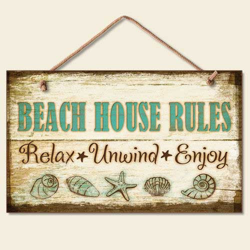 Beach House Rules Wood Sign 41-827