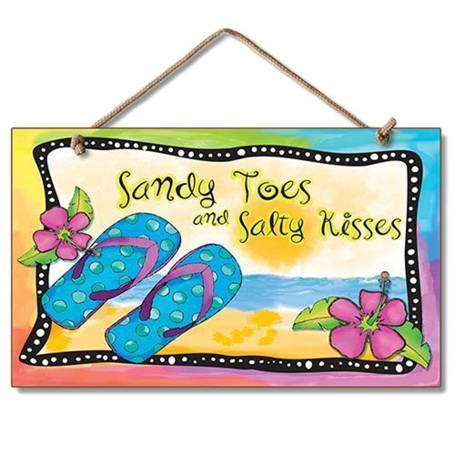 "Flip Flops Sign ""Sandy Toes & Salty Kisses"""