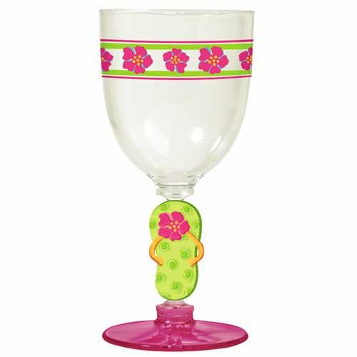 Flip Flops Stem Goblet Acrylic Pink Base 42250P