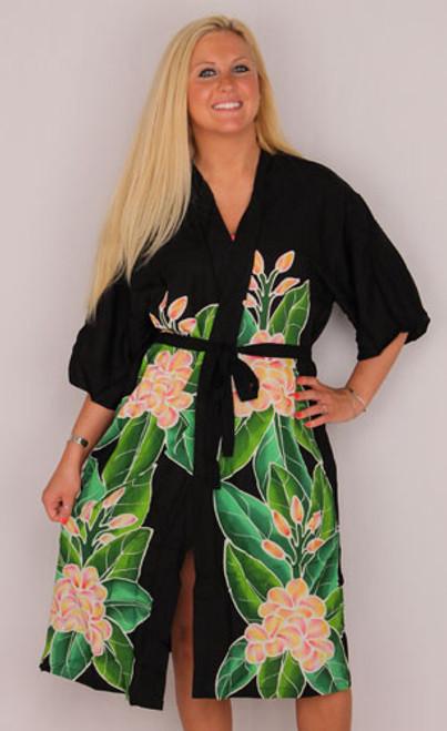 Tropical Plumeria Kimono Wrap Robe Black - 4260H