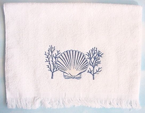 Sea Shell Fingertip Towel White - 1749