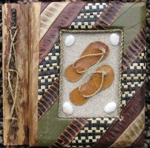 "Flip Flops Photo Album 7"" x 7"" Handcrafted Tropical Natural Leaf 5-2-550"