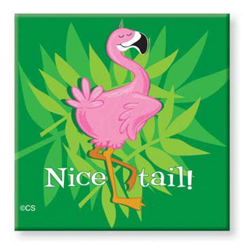 Tin Magnet Nice Tail Pink Flamingo 628-49