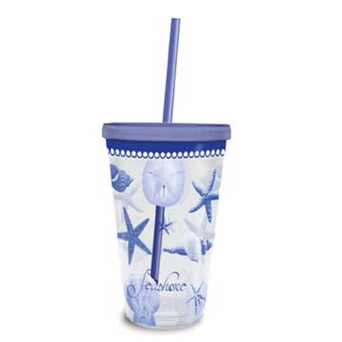 Blue Water Shells Insulated Plastic Tumbler with Lid & Straw 726-01