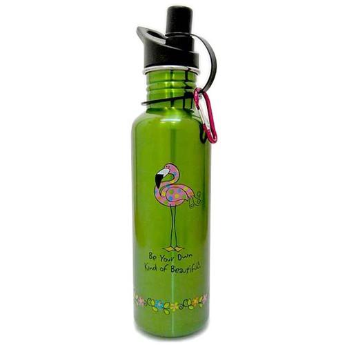 Pink Flamingo Green Steel Water Bottle 741-02