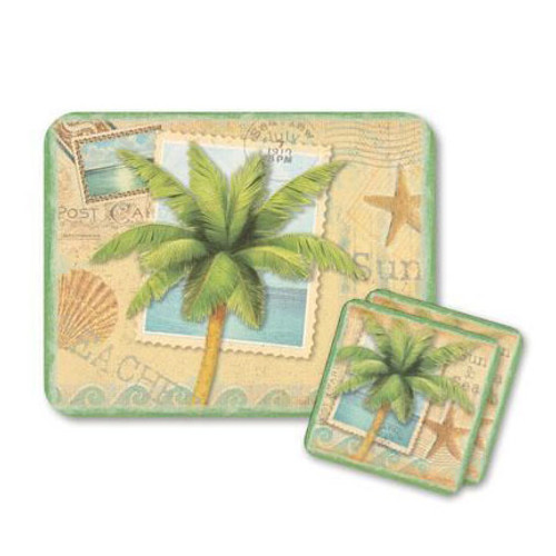"Palm Tree ""Sun and Sea"" Mouse Pad and Coasters Set - 801-38"