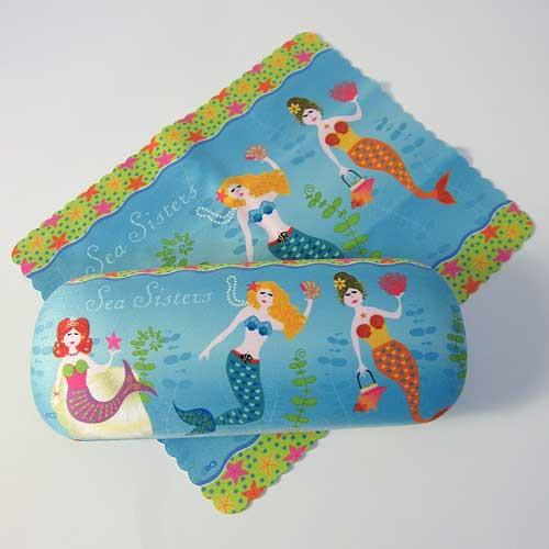 Mermaid Sea Sisters Eyeglass Case with Cleaning Cloth - 804-90