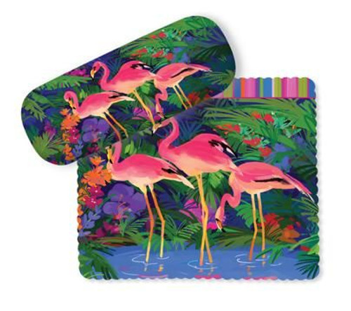 Pink Flamingo Paradise Eyeglass Case with Cleaning Cloth - 804-92