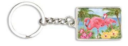"Pink Flamingo Key Chain Key Ring ""Flamingo Garden"" - 805-49"