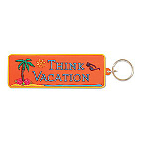 "Palm Tree Key Ring Key Chain ""Think Vacation"" - 805-91"