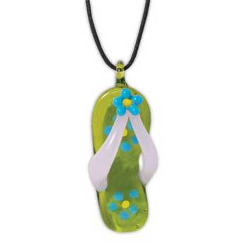 Glass Necklace Flip Flop Green Yellow 812-79G