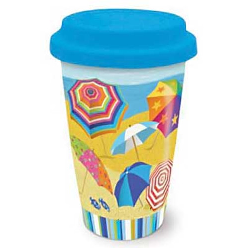 Ceramic Travel Mug Beach Umbrella Parade 814-49