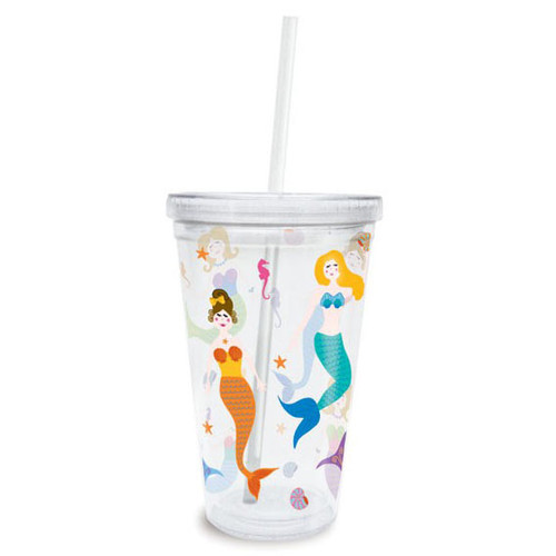Mermaids Insulated Plastic Tumbler with Lid & Straw - 814-95