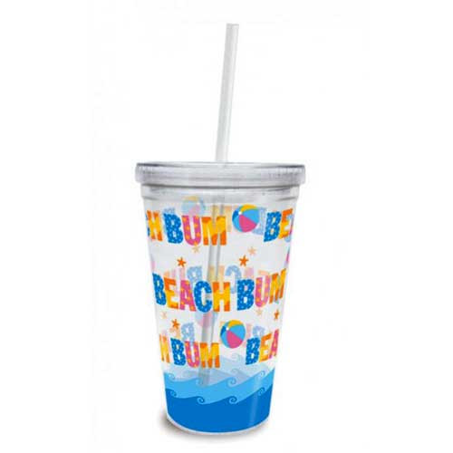 Insulated Tumbler Beach Bum with Lid & Straw 814-97