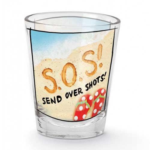 """Beach Shot Glass """"SOS Send Over Shots"""" 849-57"""