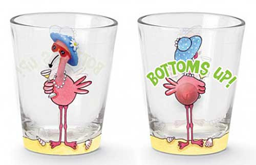 "Pink Flamingo Shot Glass ""Bottoms Up"" 853-29"
