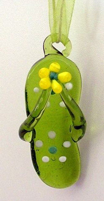 Flip Flop Glass Ornament Green - 856-86