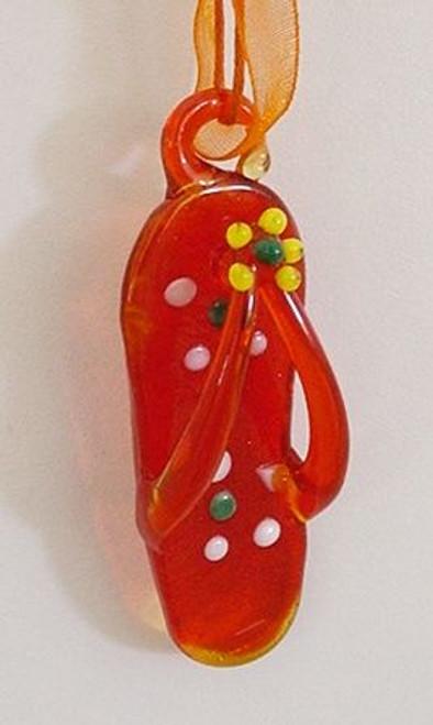 Flip Flop Glass Ornament Orange- 856-86-1