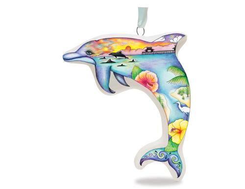 Coastal Daydream Dolphin Ceramic Ornament - 868-33