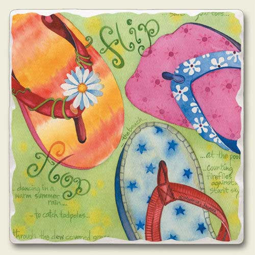 Flip Flops on the Beach Stone Magnet 88-139