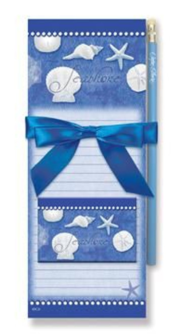 "Sea Shells Magnetic List Pads and Magnet Set ""Blue Water Shells"" - 91-375"