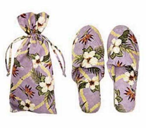 Floral Paradise Lavender Silk Slippers Size L/XL  - 9202098L