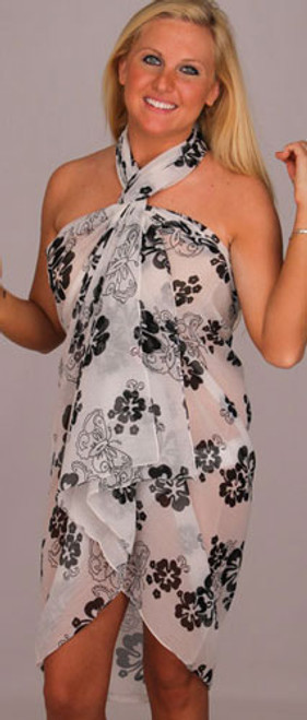 Sarong Full Size Sheer Floral Black on White- 9601-8513
