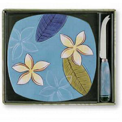Plumeria Twilight Tile and Cheese Knife - Ceramic Stoneware - 99-11504-100
