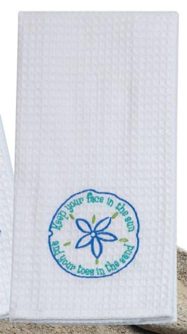 Sand Dollar Beach Theme Waffle Weave Kitchen Towel - A8710