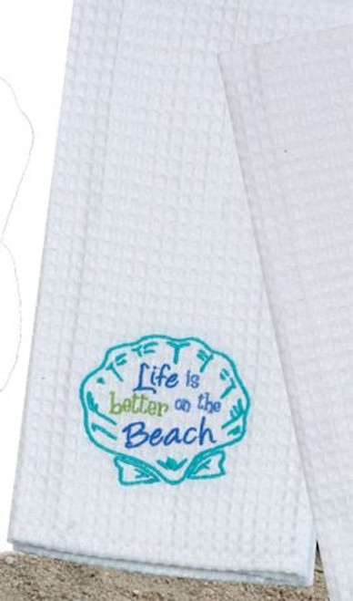 Scallop Beach Theme Waffle Weave Kitchen Towel - A8711