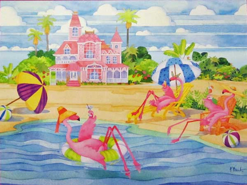 Birthday Card Pink Flamingo Relaxing BDG13199