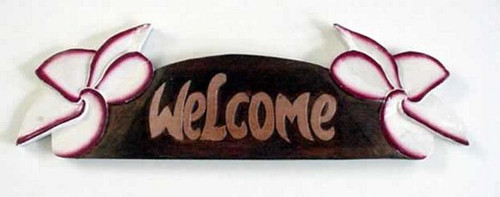 Welcome Sign Hand Painted Wood Pink Plumeria BSWSP