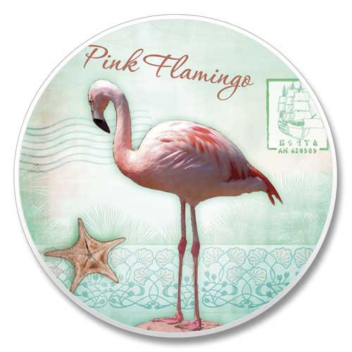 Pink Flamingo Absorbent Stone Coaster Car Cup Holder 03-00476