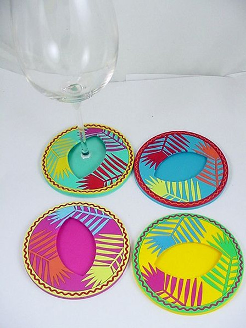 Palm Leaf Slip-on Silicone Stemware Coasters Set of Four - CCC1-9688