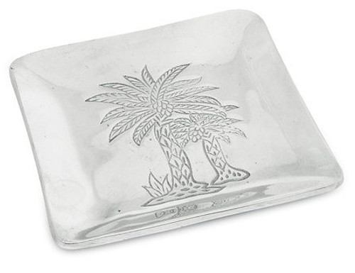 Palm Tree Embossed Aluminum Metal Small Dish - 9401