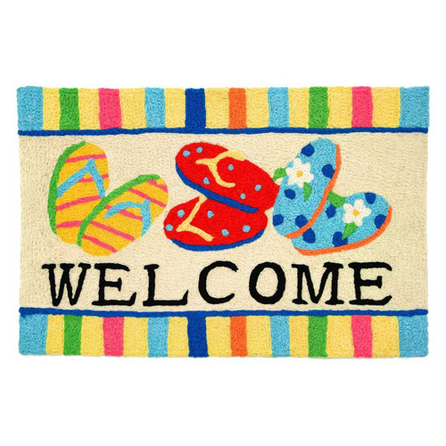 "Flip Flops Rug ""Welcome"" Indoor Outdoor Washable - JB-RR011"
