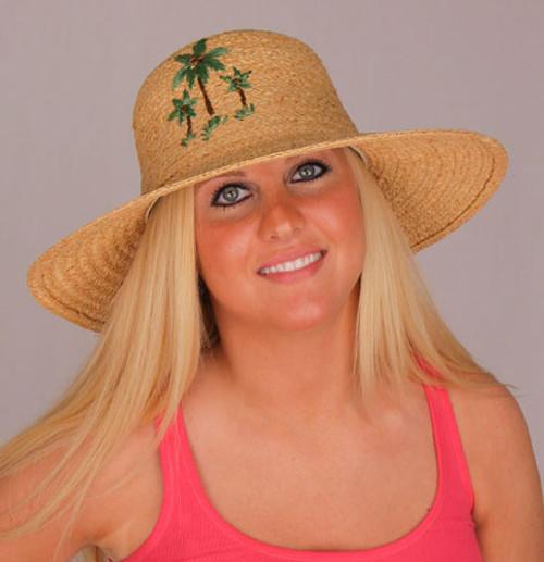 Raffia Hat Wide Brim Palm Tree Embroidered Design - LR427OS