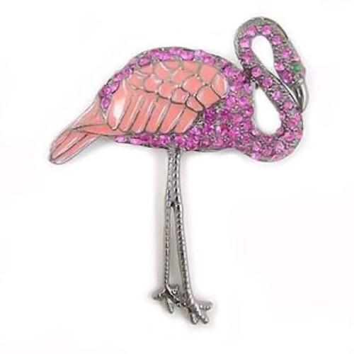 Pink Flamingo Pin with Rhinestones & Enamel - P2277