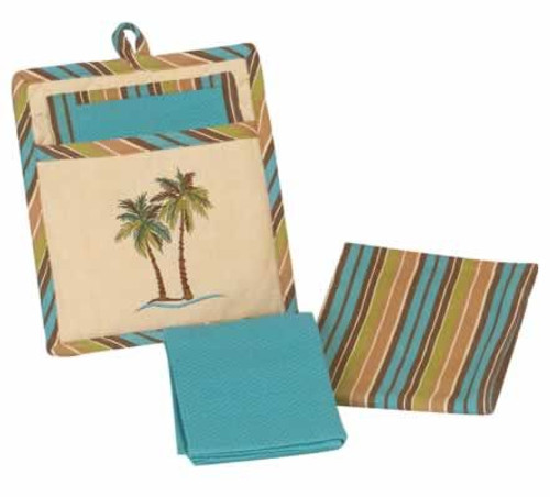 Palm Tree Three Piece Embroidered Kitchen Linen Set - R2097