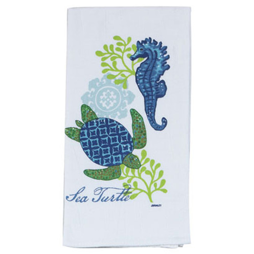 Sea Turtle and Seahorse Flour Sack Towel - R2503