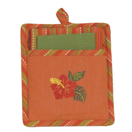 Tropical Hibiscus Flower Three Piece Embroidered Kitchen Linen Set - R2517
