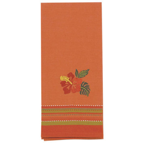 Tropical Hibiscus Flower Embroidered Cotton Tea Towel - R2518