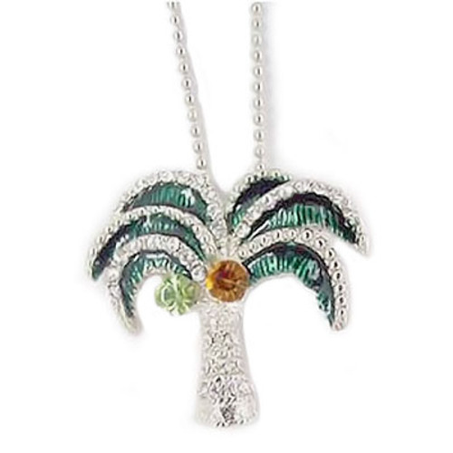 Palm Tree Necklace with Rhinestones - RSN2265-EME