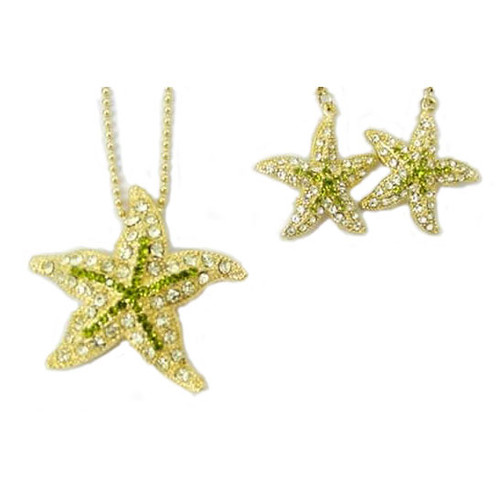 Starfish Earrings & Necklace with Rhinestones - Goldtone - RSN2269-G