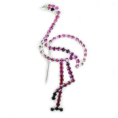 Pink Flamingo Pin All Rhinestones - Silvertone -RSP3093